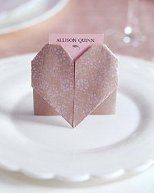 paper heart place cards