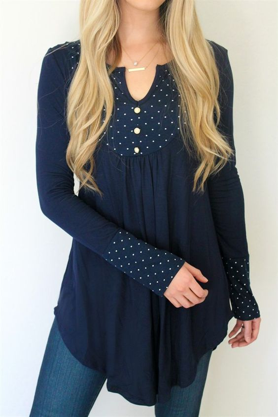 Polka Dot Peasant Tunic {Jane Deals}                                                                                                                                                      More
