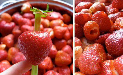 You can take out the middle of strawberries easily and efficiently using a straw. Just poke the straw through the centre of the strawberry and the middle will come out easily.