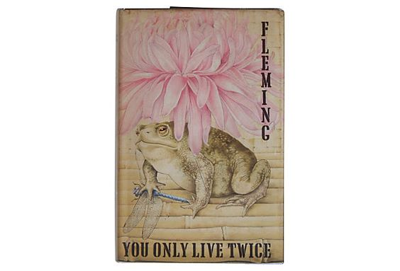 "Love this bookcover for You Only Live Twice - it's the peony and the toad. 1st Printing 1964. Dimensions of this fab book are 7.6"" L x 5.25"" W x 1"" H. Now, buy facsimile cover & find book to match!"