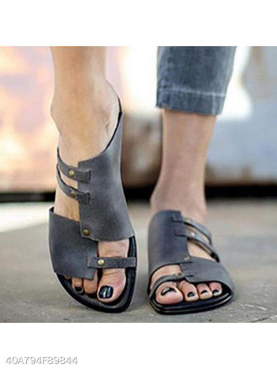 Plain Flat Peep Toe Casual Slippers