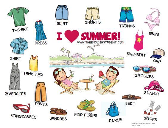 ESL, ESL teaching ideas, summer clothing, ESL vocabulary, clothing ...