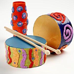 11201 heel leuk voor kinderen om zelf instrumenten te maken en te versieren met foam clay - Hoe een lange smalle gang te versieren ...