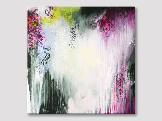 Original große abstrakte Malerei, moderne Kunst, Acrylbild, Gemälde, dunkel grün Bordeaux Rosa, abstrakte Kunst, moderne Malerei