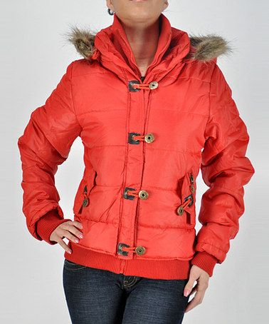 Look what I found on #zulily! Red Faux Fur Toggle Puffer Coat - Women by Elegant Apparel #zulilyfinds
