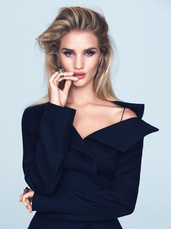 Rosie Huntington-Whiteley shows some shoulder in Dior jacket and skirt for ELLE Brazil Magazine September 2016