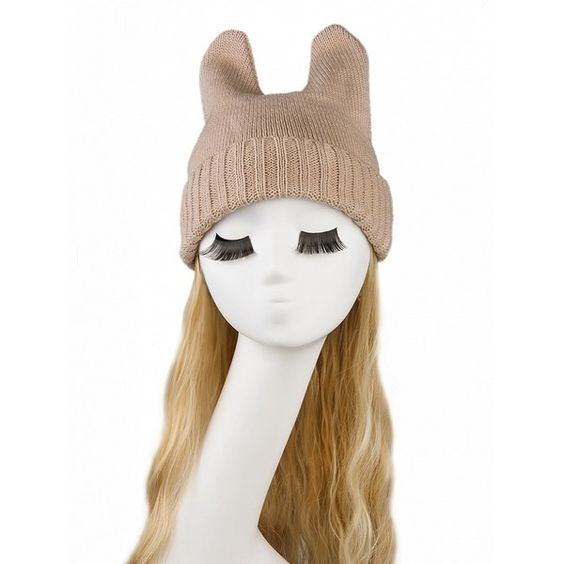 Choies Beige Devil Horn Beanie ($5.90) ❤ liked on Polyvore featuring accessories, hats, beige, beanie hats, beanie cap hat, beige hat and beanie cap