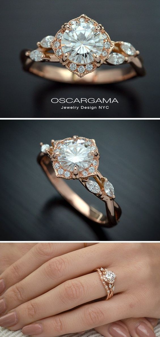 Engagement Ring Vintage Inspired Halo With Natural Diamond Lab