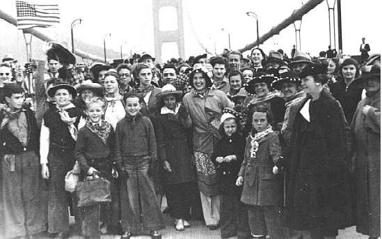 On the Golden Gate Bridge on opening day, May 27th, 1937.