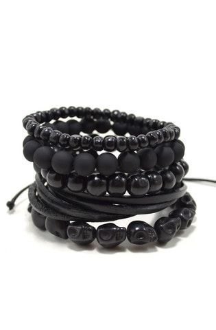 Stackable black bracelet