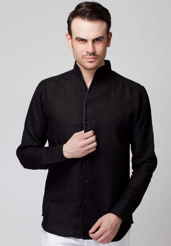 Long Sleeve Black Linen Shirt With Contrast Color Piping - Mksp ...