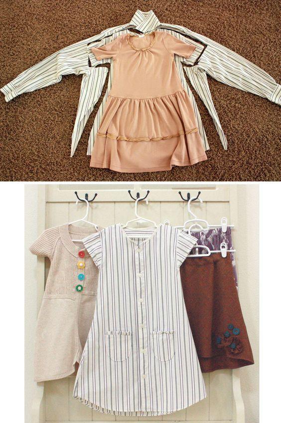 Vom Männerhemd zum Mädchenkleid! Prima Idee!
