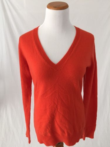 STYLEMINT-orange-100-cashmere-V-Neck-Sweater-womens-2-M