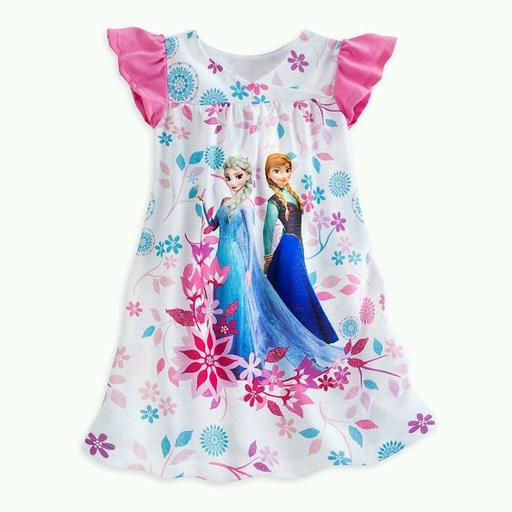 Details about disney store frozen anna and elsa nightgown - Robe elsa disney ...