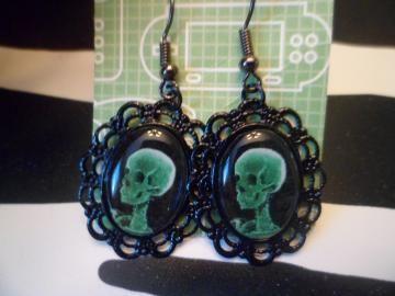 Lime green xray skull earrings