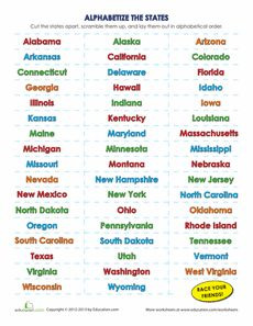 List Of The 50 States In Alphabetical Order To Be We