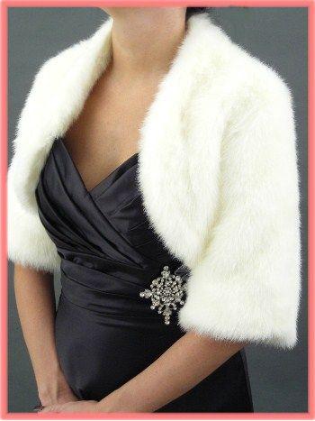 Faux Fur White Mink Bolero Evening Jacket