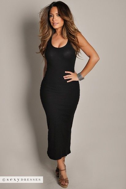 Anabelle&quot Black Cute and Casual Sleeveless Tank Maxi Dress ...