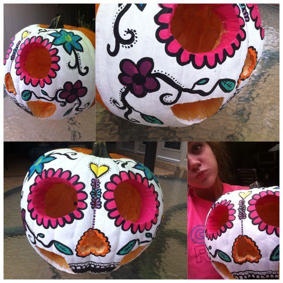Sugar skull pumpkin, Skull pumpkin and Sugar skull on ...