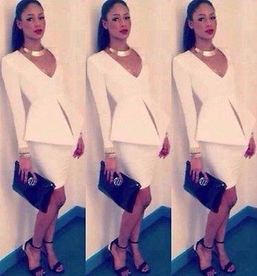 Para Mujer Nueva Moda Profundo Cuello en V sexy lápiz vestidos de Vestido Ajustado Mangas Largas Blancas