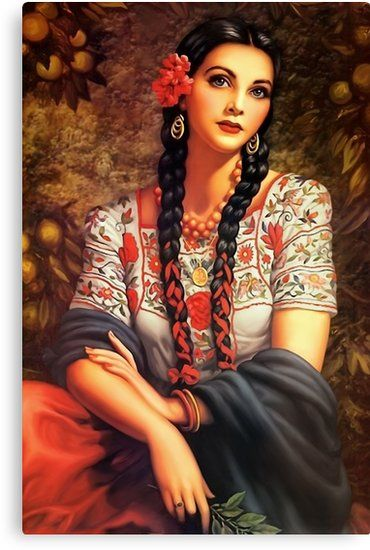 Mexican' Canvas Print by edleon   Mexican artwork, Spanish woman, Mexican  art