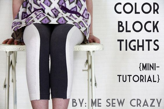 color block tights tutorial by www.mesewcrazy.com