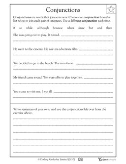 Printables Conjunction Worksheets 4th Grade first grade reading math sheets and on pinterest in this writing worksheet your child gets practice combining two sentences into one using different conjunctions grade