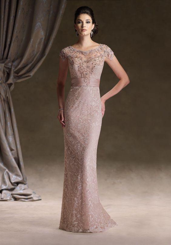 vintage lace gowns  Lace Bateau Sheath Vintage Long Mother of the ...