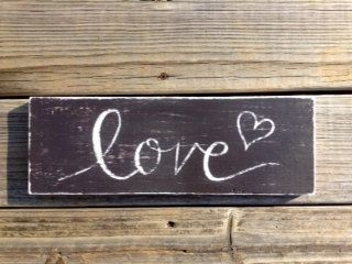 Love Rustic Pink and Brown Distressed sign by TheKarensKreations on Etsy
