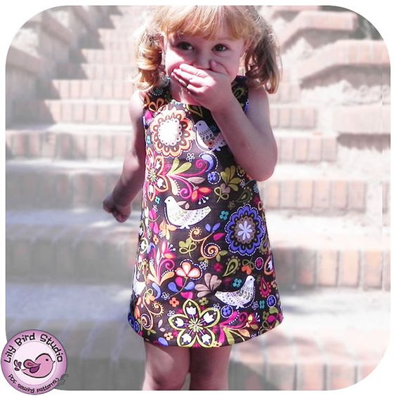 A-Line Dress - 12 mth to 8 yrs - PDF Pattern and Instructions - easy sew, lined bodice, w/button and button loop. $6.90, via Etsy.
