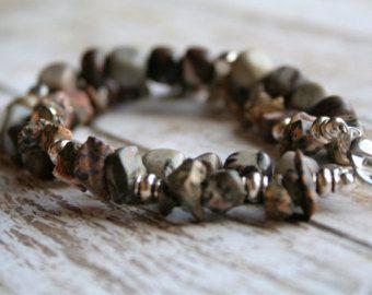 Simple Stones-Two Strand Beaded Bracelet. Stone Jewelry. Stone and Silver Bracelet. Beaded Bracelet. Silver Jewelry. Boho Bracelet. - Edit Listing - Etsy