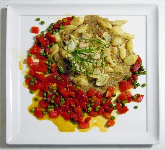 Pasta clam sauce on sautéed watermelon and peas