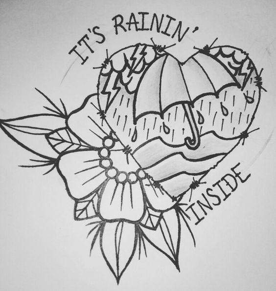 It's rainin inside. Tattoo traditional, tattoo flash.