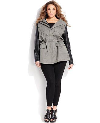 DKNY Plus Size Faux-Leather Mixed-Media Anorak #plussizecoats