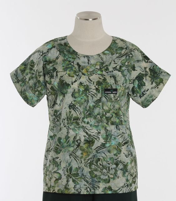 Scrub Med Womens Print Scrub Top in Emerald Isle