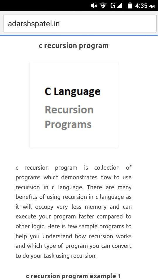 c recursion programs