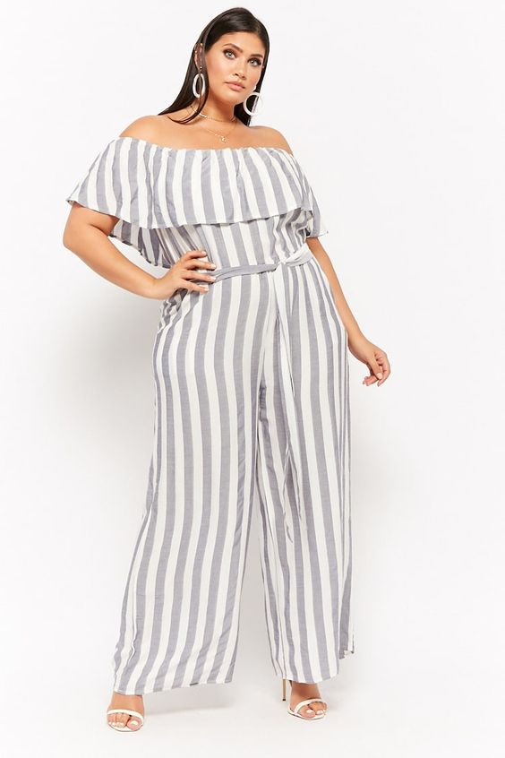 Product Name:Plus Size Striped Off-the-Shoulder Palazzo Jumpsuit, Category:plus_size-main, Price:34
