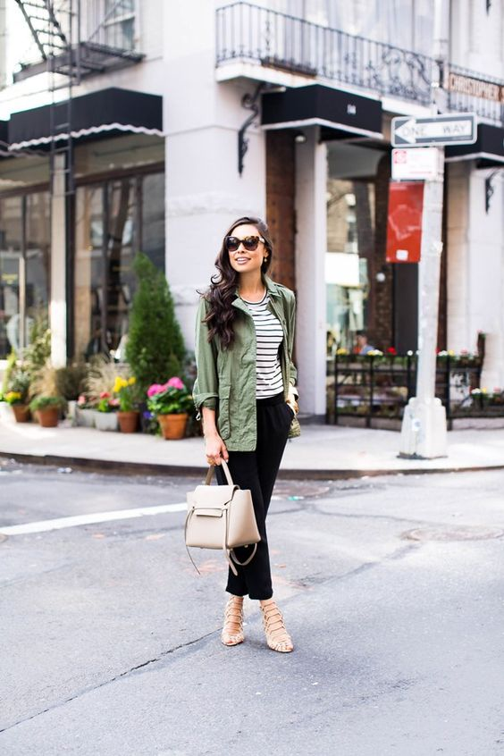 army style jacket striped tee black pants cute casual fall outfit