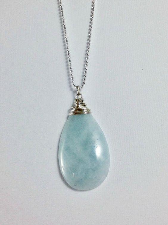 ... Stone Pendant, Minimalist Stone Jewelry | Stone jewelry, Aquamarines
