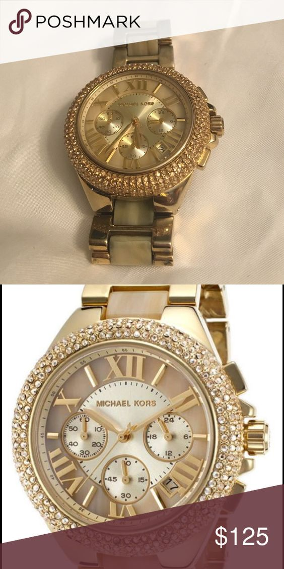 Michael Kors gold watch Mk5902 Camille gold glitz & thorn acetate strap  women's watch. Case size is 39mm. Michael Kors Jewelry