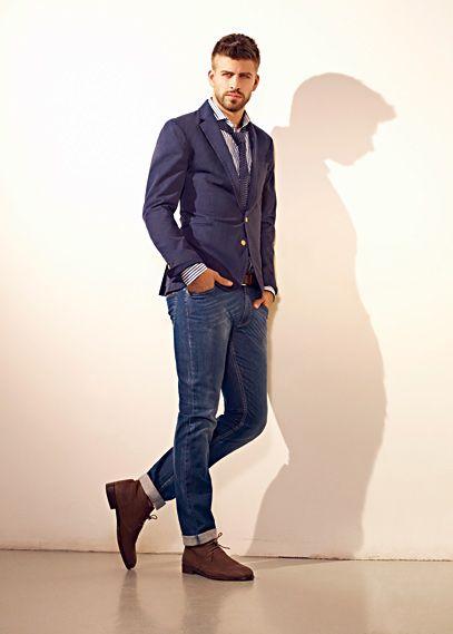 HEbyMango - REBAJAS - Jeans - JEANS CINTURA BAJA SLIM-FIT STEVE - A pelo piqué