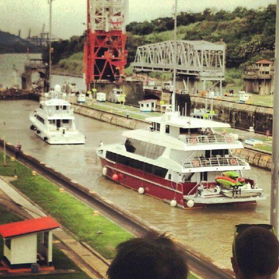 boats traversing the Panama Canal