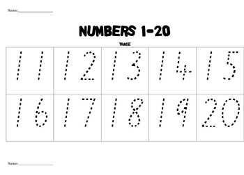 Printables Traceable Numbers Worksheets 1 20 tracing numbers 1 20 20