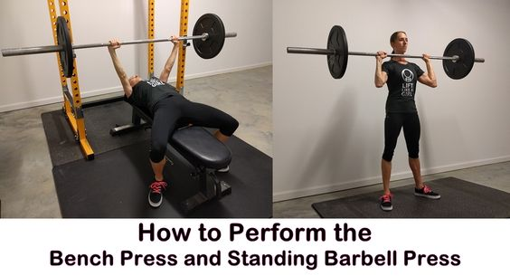 How To Perform The Bench Press And Standing Press And Why You Should Watch Videos To Learn How To Perform Bench Press Bench Press Workout Bench Press Weights