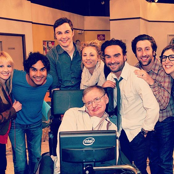 Big Bang Theory cast members with Steven Hawking