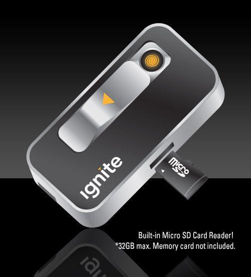 Ignite USB Lighter   Ignite E-Data Rechargeable USB Lighter & Micro SD Card Reader