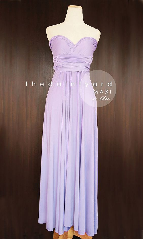 Lilac bridesmaid convertible dress and infinity dress on for Purple maxi dresses for weddings