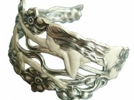 Jugendstil Schmuck Armspange Meerjungfrauen aus 925 Silber neu gefertigt