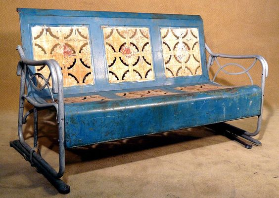 Vintage 1930s Blue And White Porch Glider The Birth Of