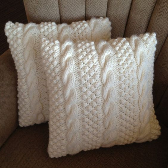 Cable and Blackberry stitch cushions